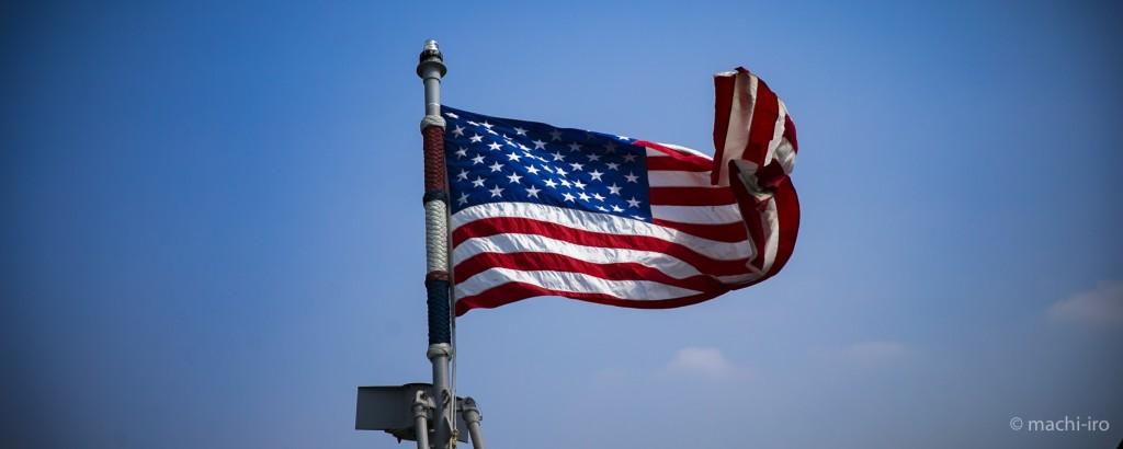 掃海艦パトリオットシップツアー星条旗写真