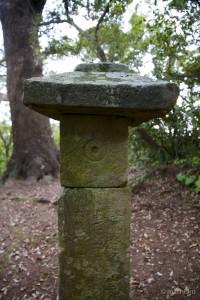 墓碑と対峙する灯篭