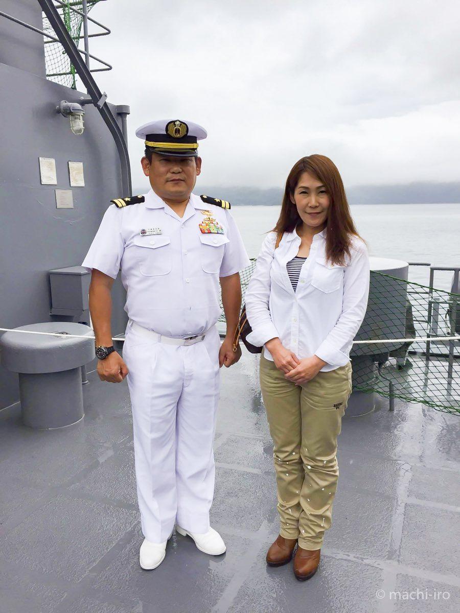 船長と記念撮影