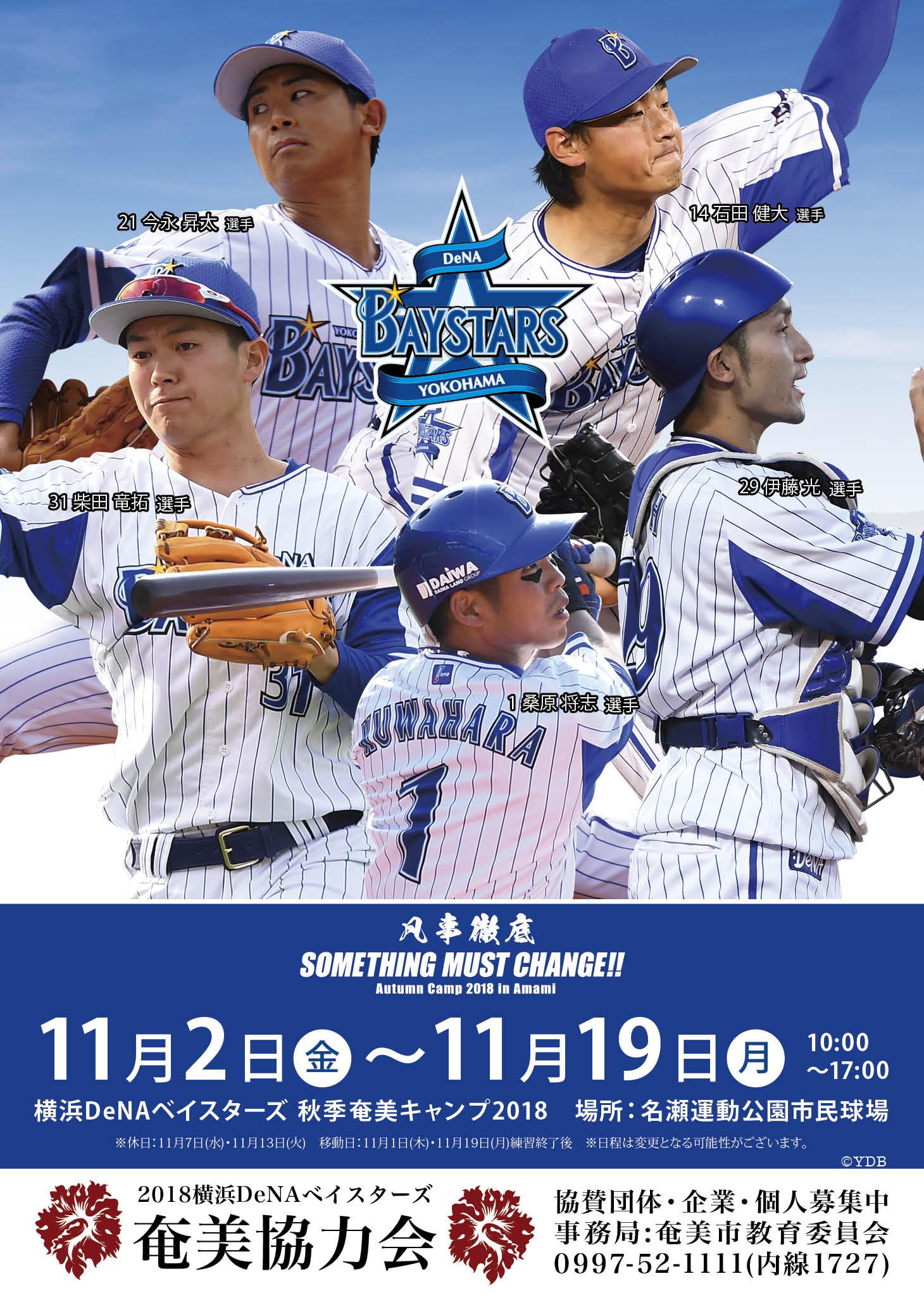 横浜DeNAベイスターズ秋季奄美キャンプ2018 奄美協力会ポスター